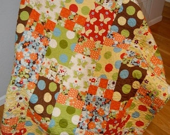 Autumn Patchwork LAP Quilt Throw Modern Fabric Moda Freeboard Fabric Handmade