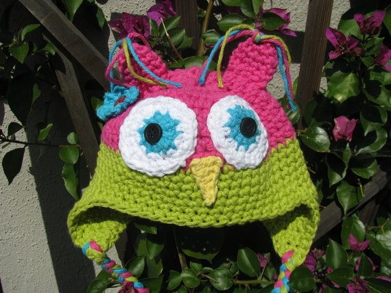 Girl Owl Hat- Hot Pink, Lime Green with a Turquoise Flower. Bestseller Great baby gift. -Photo prop.