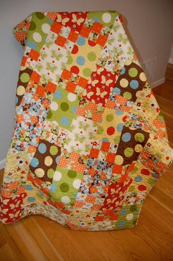 Autumn Patchwork LAP Quilt Throw Modern Fabric Moda Freeboard Fabric Handmade