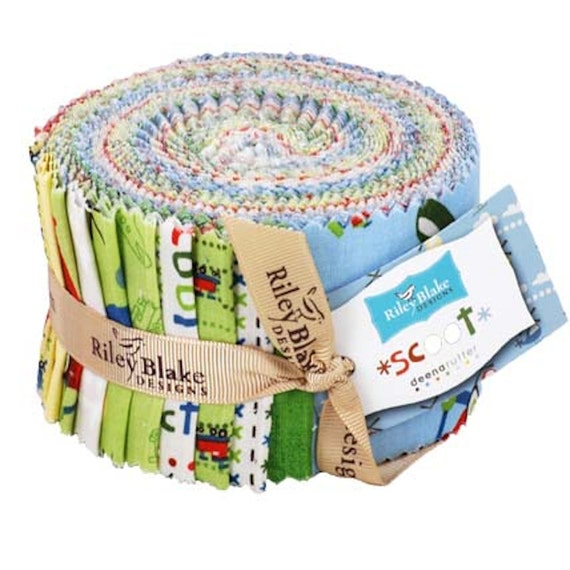 """SALE Scoot Riley Blake Rolie Polie Jelly Roll 24- 2.5"""" strips  Trains Airplanes Helicopters  LAST one"""