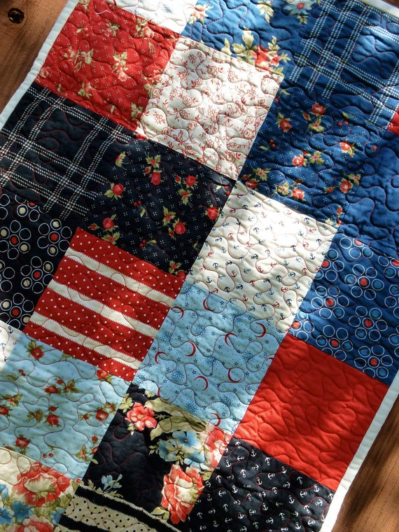 Reserved for Tara-Quilted Table Runner Moda Bar Harbor Nautical and Patriotic Patchwork Red White and Blue
