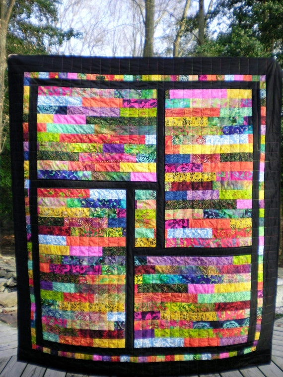 Window Panes of Color - Batik Lap Quilt