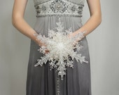 Bridal Bouquet - Crystal Snowflake Bridal Bouquet - Winter Wedding - Winter Wonderland Wedding - Christmas Wedding