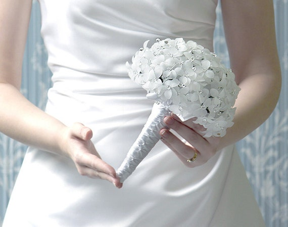 Bridal Bouquet - White Beaded Bouquet, Silk Wedding Flowers