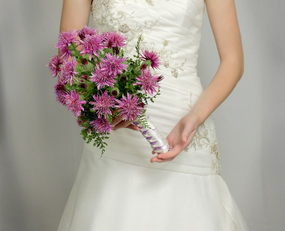 Wedding Flowers - Bridal Bouquet of Silk Thistles - Wedding Bouquets