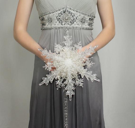 Winter Bouquet - Crystal Snowflake Bridal Bouquet for a Winter Wedding - Christmas Wedding Bouquet - Beautiful Wedding Dress Accessory