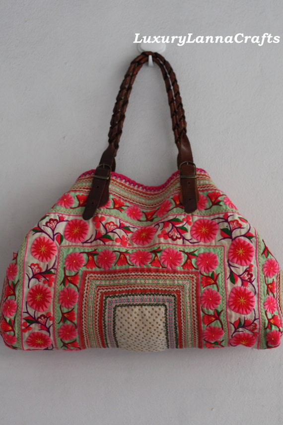 Luxury Lanna Hmong vintage tote bag ethnic flowers summer white pink Hb2012-G9