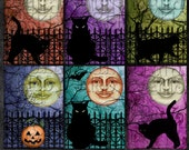 "Halloween Moon Digital Collage Sheet ATC Tags Background Cards Ephemera Labels 3.5"" x 2.5"""