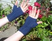 Fingerless  gloves, navy blue unique diagonal basketweave pattern, adult size small/medium