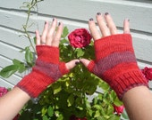 Fingerless gloves, red and purple, adult size small/medium