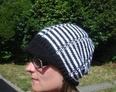 Striped slouchy hat with brim, black and white, adult size small/medium
