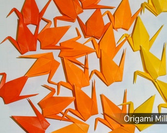 3 inches solid color cranes (50 pieces in 5 colors, shades of yellow-orange)