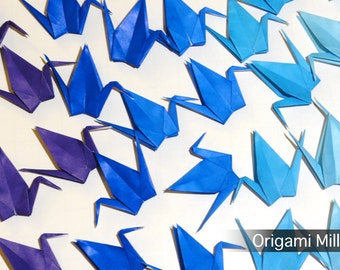 3 inches solid color cranes (50 pieces in 5 colors, shades of blue )