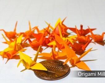 1 inch solid color cranes (25 pieces in 5 colors, shades of yellow-orange)