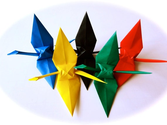 Olympic 5 color Origami Cranes  (100 cranes in 6 inches size)