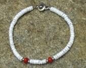 White Puka Shell Red Coral Bracelet - kwb0014 - Gift Idea