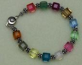 Handmade Swarovski Crystal Cube  Sterling Bali Bracelet - kwb0009 Gift Ideas