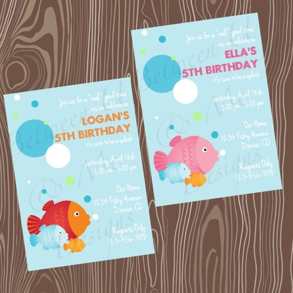 Items similar to fish birthday party invitation printable for Fishing birthday party invitations