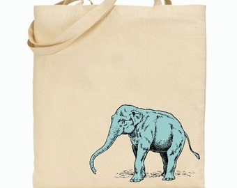 Eco Friendly Canvas Tote Bag - Reusable Grocery Bags - Unique Images - Blue Elephant