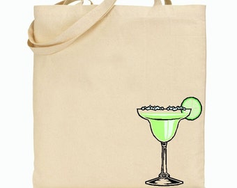 Eco Friendly Canvas Tote Bag - Reusable Grocery Bags - Unique Images - Margarita