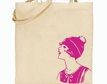 Eco Friendly Canvas Tote Bag - Reusable Grocery Bags - Vintage Pink Lady