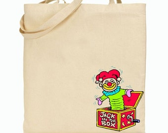 Eco Friendly Canvas Tote Bag - Reusable Grocery Bags - Gift Bag - Jack In The Box