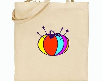 Eco Friendly Canvas Tote Bag - Reusable Grocery Bags - Gift Bag - Pincushion