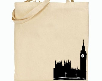Eco Friendly Canvas Tote Bag - Reusable Grocery Bags - Gift Bag - Big Ben UK - England