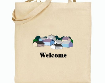 Eco Friendly Canvas Tote Bag - Welcome to the Neighborhood -Gift Bag