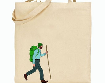 Eco Friendly Canvas Tote Bag - Reusable Grocery Bags - Unique Images - Hiking Bag - Man Hiking