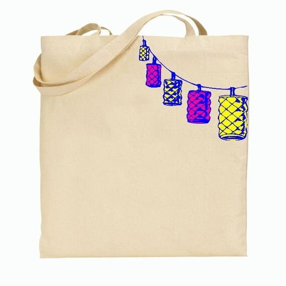 Eco Friendly Canvas Tote Bag - Reusable Grocery Bags - Unique Images - Lanterns