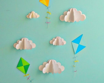 Kite Decals, Paper Decals, Wall Decals, Wall Art, 3D Paper Wall Art, Wall Decor
