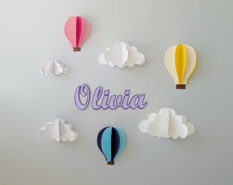 Custom Name Wall Art-Hot Air Balloons and Clouds 3D Paper Wall Art/Wall Decor/Wall Decal