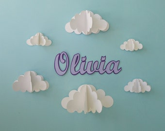 Custom Name Wall Art with 3D Paper Clouds-Wall Art/Nursery Decor/Wall Decals/Wall Decor