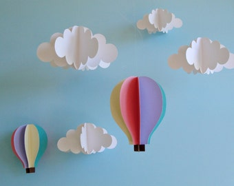 Hanging 3D Clouds and Hot Air Balloons/Hanging Decor/Nursery Decor