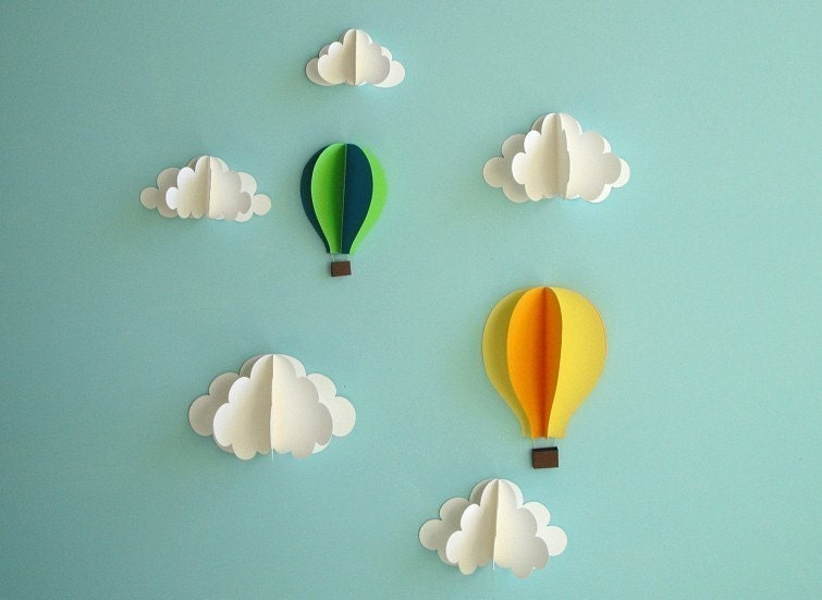 Paper Clouds Wall Decor : Hot air balloon wall decal paper art decor d