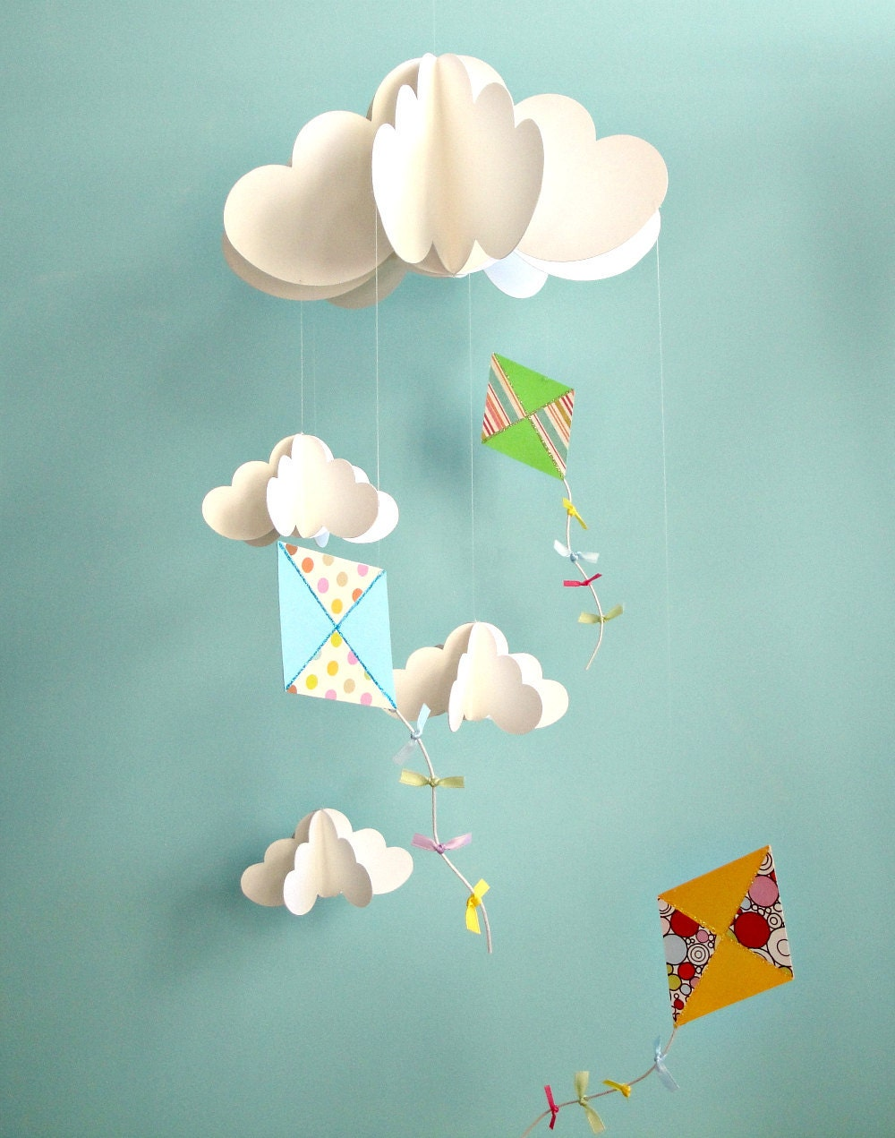 kite mobile baby mobile nursery mobile hanging paper 3d. Black Bedroom Furniture Sets. Home Design Ideas