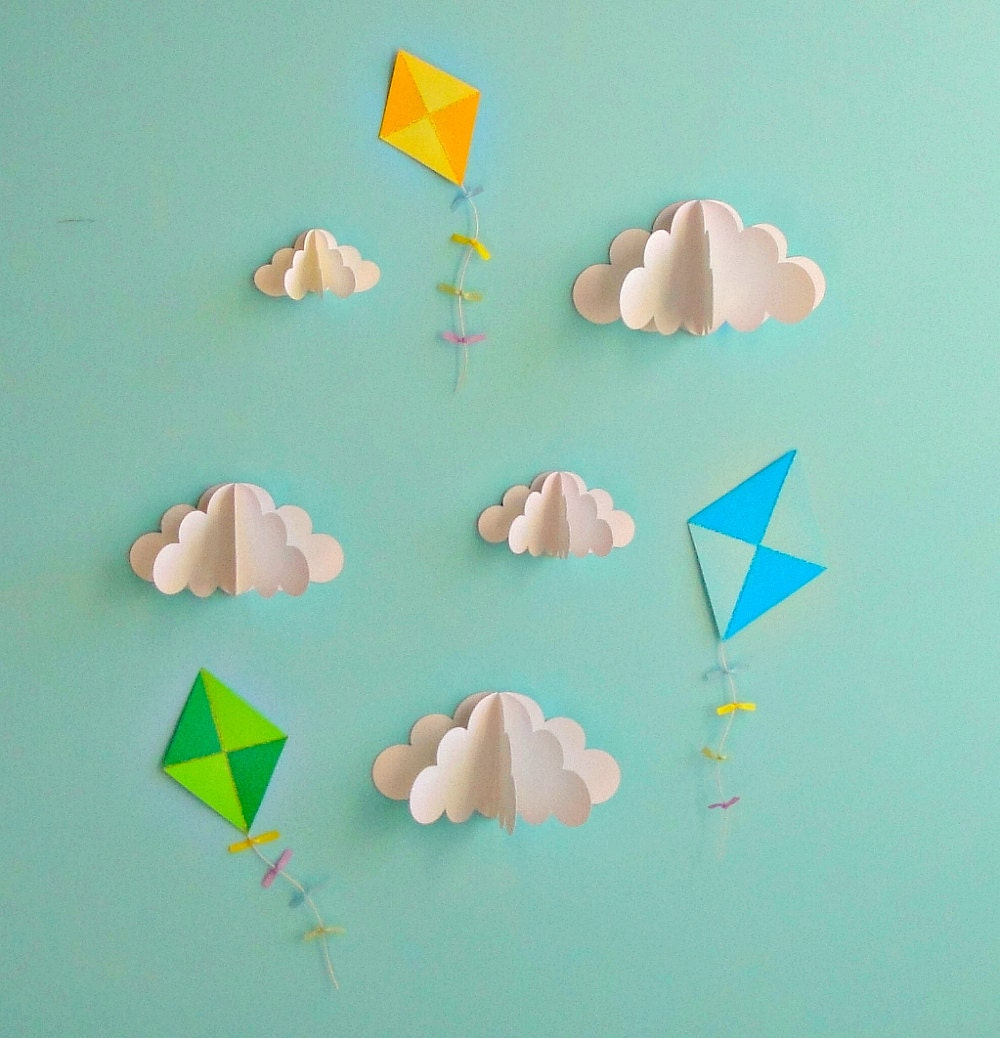 Kite decals paper decals wall decals wall art 3d paper zoom amipublicfo Gallery