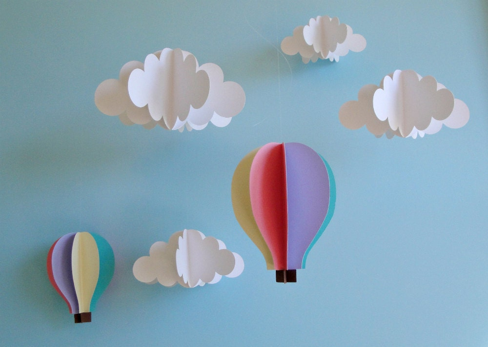 Hanging 3d clouds and hot air balloons hanging decor nursery for Balloon cloud decoration