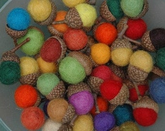Wool Acorns-12 handmade felted wool acorns