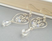 Winter bridal earrings wire wrapped jewelry form sterling silver filled wire opalite and crystallized beads