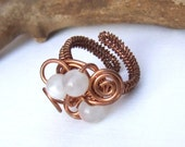 Copper moonstone freeform ring wire wrapped adjustable jewelry