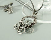Antiqued pendant sterling silver filled wire handmade wire wrapped jewelry