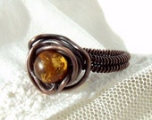 Autumn ring, amber copper ring, handmade wire wrapped antiqued jewelry size 6 1/2