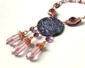 Purple copper necklace, indian mandala orinetal polymer clay statement jewelry