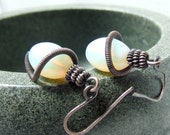 Copper opalite earrings glass opalite rustic antiqued wire wrapped jewelry
