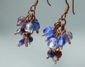 Grapes handmade earrings glass beaded wire wrapped copper jewelry