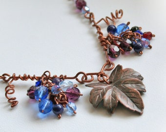 Autumn grapes necklace, fall harvest rustic necklace, OOAK handmade jewelry