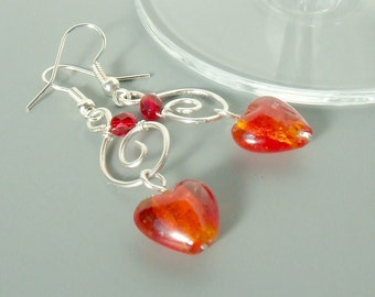 Red heart earrings, silver plated glass beaded jewelry, gift for girlfriend
