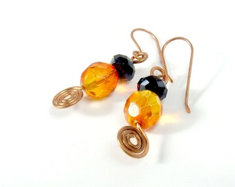 Boho dangle copper earrings, bohemian wire wrapped jewelry, Orange black jewelry